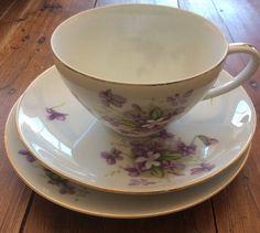 Mikuni China Japan TeaCup Saucer Cake Plate Violet Vintage Porcelain Trio  Cup