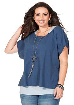 Typ , Shirt und Top,  Materialzusammensetzung , Top + Shirt in 100%Baumwolle,  Optik , mit Seitenschlitzen,  Stil , Oversized-Form,  Gesamtlänge , Shirt: größenangepasst, ca. 60 bis 68 cm. Top: größenangepasst, 72 bis 82 cm,   ...