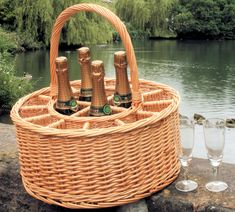 Celebration Champagne Basket with 12 free glasses Perfect Gift For Him, Gifts For Him, Gift Baskets, Wicker Baskets, Free Glasses, Bottle Carrier, Champagne Bottles, Summer Picnic, Prosecco