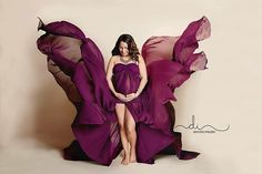Plum Split Chiffon Lace Maternity Gown by BoutiqueByAgnes on Etsy