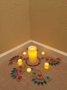Diwali decor with kundan rangoli and led lights