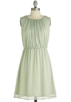 $75  In Sage You Will Dress - Mid-length, Green, Solid, Sleeveless, Ruching, Pleats, Party, A-line, Pastel, Cocktail, Chiffon, Mint