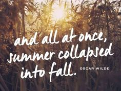 Quotes to Remind You Why Fall Is the Best Season EVER And all at once, summer collapsed into fall.And all at once, summer collapsed into fall. Quotable Quotes, Lyric Quotes, Me Quotes, Qoutes, Quotations, Random Quotes, Nature Quotes, Short Quotes, Beauty Quotes