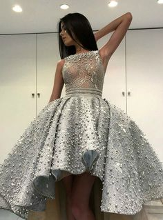Ball Gown Prom Dresses, a line round neck high neck grey lace prom dress with pearl Rose Dress Winter Prom Dresses, High Low Prom Dresses, Short Dresses, Formal Dresses, Prom Dresses Online, Cheap Prom Dresses, Homecoming Dresses, Gowns Online, Evening Party Gowns