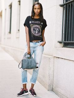 A band tee, boyfriend jeans, and cool sneakers