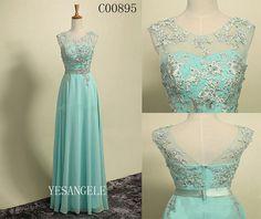 Stunning Lace-up Illusion Mint Long Chiffon Evening Dress, Prom dress