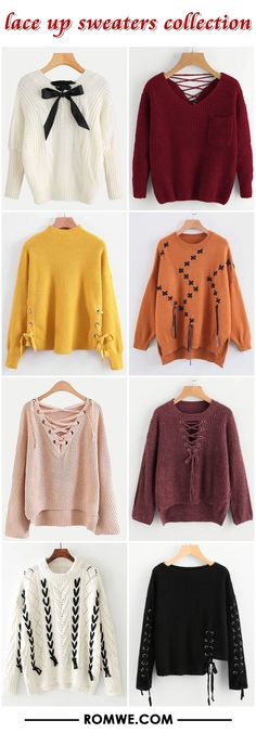 lace up sweaters collection from romwe.com