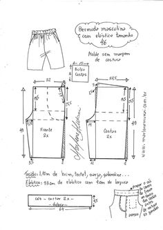 bermuda com elástico Masculino: bermuda com elástico - DIY - molde, corte e costura - Marlene MukaiList of Bermuda Triangle incidents This is a list of incidents attributed in popular culture to the Bermuda Triangle or Devil's Triangle. Dress Sewing Patterns, Clothing Patterns, Sewing Shorts, Jolie Lingerie, Fashion Design Drawings, Pants Pattern, Designs To Draw, Patterned Shorts, Boy Outfits