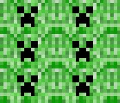 Creeper Minecraft fabric by wendyandderek on Spoonflower - making Ben a duvet cover for his bed :D