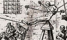 Judas Cradle - Similar to the wooden horse, the Judas cradle was a pyramid shaped and sharpened device, on which a victim was lowered via ropes. As the victim was lowered, the device would slowly tear open their anus, vulva or scrotum. Though the device is often attributed to the Spanish Inquisition, there is evidence that it existed before this time as part of carnival sideshows.