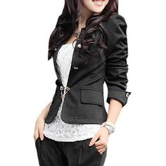 Allegra K Women Puff Sleeve Ruffled Peplum Collarless Slim Fit Suit Blazer Jacket Black S:Amazon:Clothing