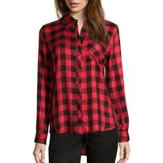 Wyatt Red And Black Plaid Flannel Button Front Shirt (362601401) ($69) ❤ liked on Polyvore featuring tops, lined flannel shirt, long sleeve woven shirt, tartan shirt, long-sleeve shirt and button front shirt
