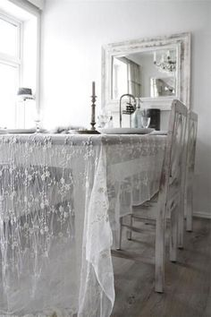 ✣ French Country Farmhouse ✣  dining room with lace table