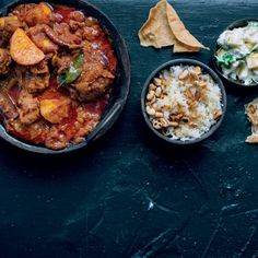 The cool, fresh and fruity raita is the perfect foil to the heat of this Durban-style Indian curry and also makes a great dip for poppadoms. Indian Food Recipes, Great Recipes, Ethnic Recipes, Favorite Recipes, Making Ghee, Vindaloo, Lamb Curry, Mince Recipes, Indian Curry