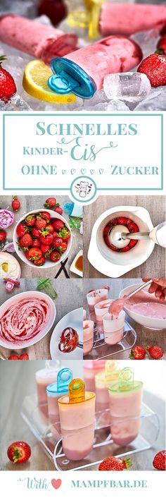 Eis für Kinder ganz einfach selber machen. Dieses Erdbeer-Joghurt Eis ist mega lecker und super geeignet für Kinder (ohne Zucker).