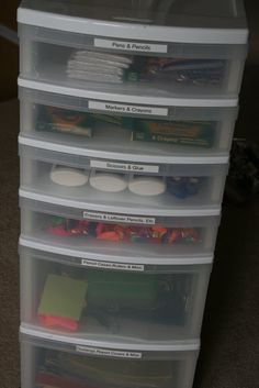 Echoes of Laughter: Back To School Organizing Part 2: Sorting Out School Supplies & Study Spaces...  I'm thinking I can use this for all my supplies, scrapbooking and crafts. I have a hutch that will be near my desk and it can all be sorted there. This is giving me lots of ideas....