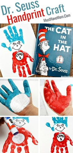 Seuss Cat in the Hat Art Project! Thing 1 and Thing 2 Dr Seuss Crafts! Dr Seuss handprint art Thing 1 and Thing 2 kids activities! via Seuss Crafts! Dr Seuss handprint art Thing 1 and Thing 2 kids activities! Dr. Seuss, Dr Seuss Art, Dr Seuss Crafts, Dr Seuss Preschool Art, Dr Seuss Week, Daycare Crafts, Classroom Crafts, Toddler Crafts, Preschool Activities