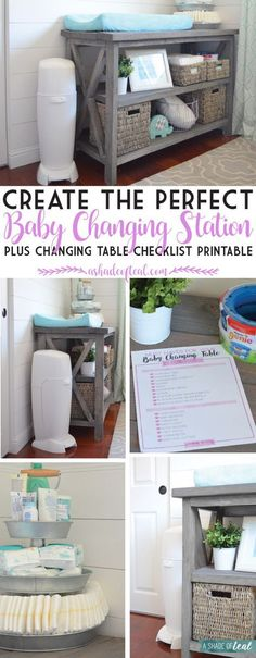 Organize your nursery and learn how to create the Perfect Baby Changing Station. Plus a Free Checklist Printable! #PrepTheNest #ad   A Shade Of Teal