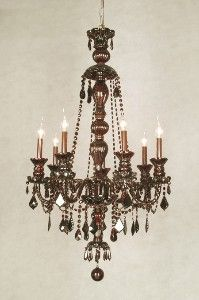 CHOCOLATE BROWN CRYSTAL CHANDELIER