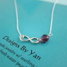 Amethyst Birthstone Love Infinity Charm Pendant by designsbyyan
