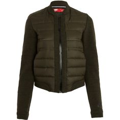 Nike Khaki Aeroloft Bomber Jacket ($195) ❤ liked on Polyvore featuring outerwear, jackets, military jacket, padded jacket, military flight jacket, nike jackets y military style jacket