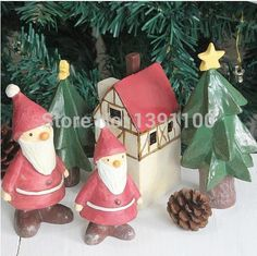 Doll house gift Handicraft small decoration green tree Cute Cabochons Assortment Assorted Pack Merry Christmas Decoration Home $27.7