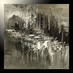 original abstract rock palette knife painting contemporary b&w Tatiana art 36x48 #Abstract