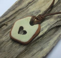 SCOTTISH SEA POTTERY  Necklace Carved Heart by byNaturesDesign, $15.00