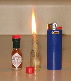 The concept is awesome .. you can have an oil lamp with you 24/7 oil lamp from a mini tabasco sauce bottle