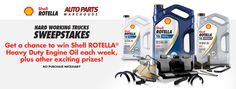 Win Shell ROTELLA Heavy Duty Engine Oil each week, plus other exciting prizes!