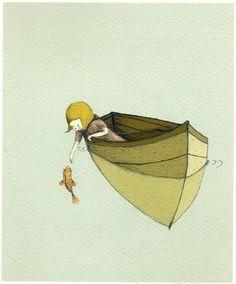 Holli, sur Etsy // Pour enfants - Illustration - Wall Art Print - Sofi et le poisson, PRINT BIG 11,69 x 16,54 pouces (A3)