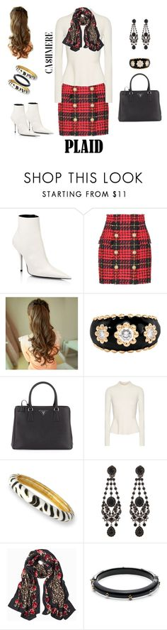 """""""Untitled #19"""" by polymeme ❤ liked on Polyvore featuring Balenciaga, Balmain, Chanel, Prada, Veronica Beard, Kenneth Jay Lane, Givenchy, White House Black Market and Alexis Bittar"""