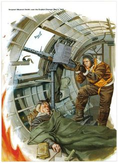 American waist gunner and wounded comrade. Ww2 Aircraft, Military Aircraft, Military Art, Military History, Military Drawings, War Thunder, Arte Horror, Nose Art, Aviation Art