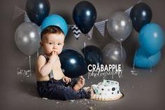 Cake smash, gray, light blue, navy blue cake smash, boy cake smash, polka dot cake, smash, one year old, Somerville One Year Photography