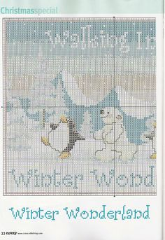 1---Walking in a winter wonderland cross stitch polar bear and penguin
