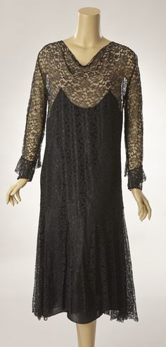 Black Lace Dress with Attached Under Dress of Black Silk****PRICE REDUCTION*****