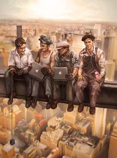Cool Paintings By Drew Beam Caricatures, Lunch Atop A Skyscraper, Nostalgic Art, Propaganda Art, We Are The World, Illustrations, Cool Paintings, Retro Futurism, Art Pictures
