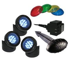 Pond Light (Set of 3) by Alpine. $68.99. Set of 3 - 12 Super Bright White LED Pond Lights. High quality waterproof housing. For use IN or OUT of water. 2 year warranty. Comes with photocell, 3 stakes and 12 colored lenses. 821559013262 Features: -Led lights are equipped with super bright Leds & high quality waterproof housing. Includes: -Includes four colored lenses for each light, photocell, three stakes and outdoor transformer. Color/Finish: -Attachable colored lenses for each ...