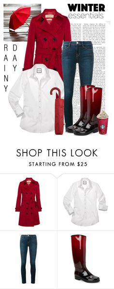 """Red Rain"" by dfashongrl ❤ liked on Polyvore featuring Burberry, Frame, Däv and MANGO"