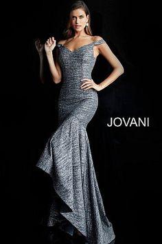 Gunmetal Glitter Off the Shoulder High Low Prom Dress 63952 Prom Dresses  Jovani bc568ce55