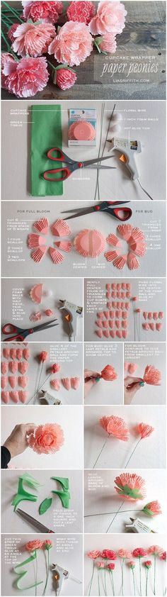 Cupcake Wrapper Peonies - Make Her Some Fabulous Mothers Day Flowers That Last Forever! mothers day crafts mothers day ideas gifts to make art projects paper flowers floral crafts easy crafts DIY projects holiday crafts Paper Flower Tutorial, Paper Flowers Diy, Handmade Flowers, Flower Crafts, Diy Paper, Fabric Flowers, Origami Flowers, Craft Flowers, Flower Diy