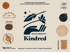 Kindred Badges 5 designed by Damian Orellana. Connect with them on Dribbble; the global community for designers and creative professionals. Typography Logo, Logo Branding, Typography Design, Lettering, Art Logo, Brand Identity Design, Graphic Design Branding, Logo Type Design, Stationery Design