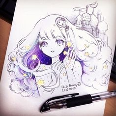 I saw #inktober everywhere ✨✨😋 So this is my first and maybe only one entry 💕^^ I adore artists who can make everyday drawing for a month 😱😱 #inktober2016 #chibibunny #drawings #galaxygirl #illustration