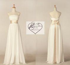 Strapless Chiffon Bridesmaid Dress  Long Bridesmaids Dress Cheap Bridesmaids Dress Simple Prom Dress on Etsy, $79.00