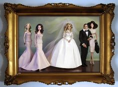 Noel Cruz repaints and restyled Charlie's Angels Cast, Farrah Fawcett-Majors, Cheryl Ladd, Jaclyn Smith, Kate Jackson and David Doyle in A Wedding Portrait.