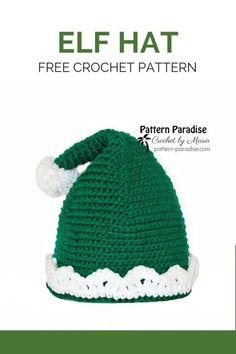 Free Crochet Pattern: Elf Hat – Crochet World Free Form Crochet, Beau Crochet, Bonnet Crochet, Crochet Beanie Pattern, Crochet Yarn, Crocheted Hats, Crochet Granny, Christmas Crochet Patterns, Holiday Crochet