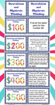 Your students will have a blast reviewing 4th grade Common Core math skills! This game show style review is perfect to use as a review before testing or at the end of the year! $