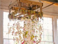 suspension bohème fleurs blanches