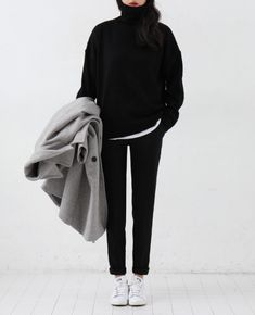The winter uniform - lots of black and a chunky sweater and sneakers