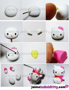 Tuto hello_kitty-fimo  - Fimo, Cernit et accessoires : http://www.creactivites.com/236-pate-polymere